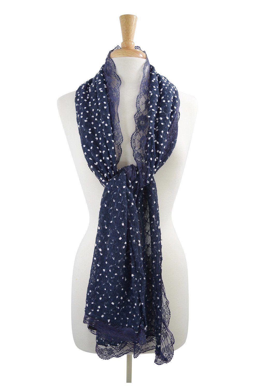Lolita Love Mesh Knit Mini Dots and Lace Trim Fashion Scarf