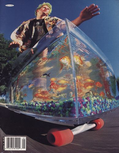 Simon Woodstock rides a fish tank skateboard for Big Brother's #14 cover