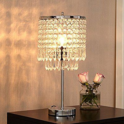 Glanzhaus Modern Design 17 Clear Crystal Raindrop Beads Lampshade