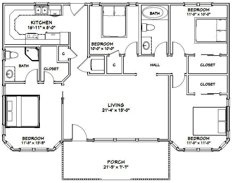 46x30 House 46x30h3 1 329 Sq Ft Excellent Floor Plans