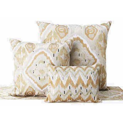 I like the subtlety. Kim Seybert Ikat Throw Pillows | Gracious Style