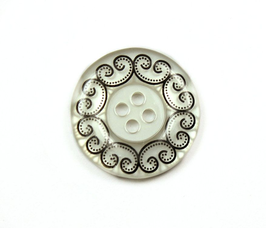 Wholesale - Lot 50 Pieces of White Translucent Buttons.With Scrollwork Edge and Recessed Center. 4 holes 0.91 inch by Lyanwood, $20.00