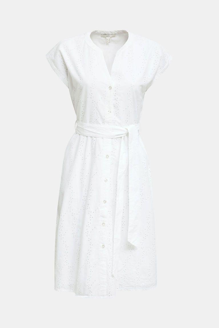 esprit - hemdblusen-kleid mit lochstickerei im online shop