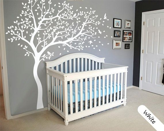This Is A Gorgeous Decal For The Nursery! White Tree Wall Decal Large Tree Wall  Decal Wall Mural Stickers Wall Decals Decor Nursery Tree And Birds Wall Art  ... Part 57