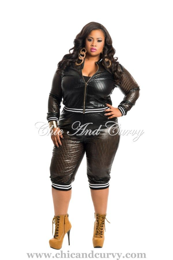 c088943728 Chic And Curvy · Cute Outfits · Style · New Arrival New Plus Size 2 Piece  Set Jacket and Cropped Leggings in Black Perforated Liquid