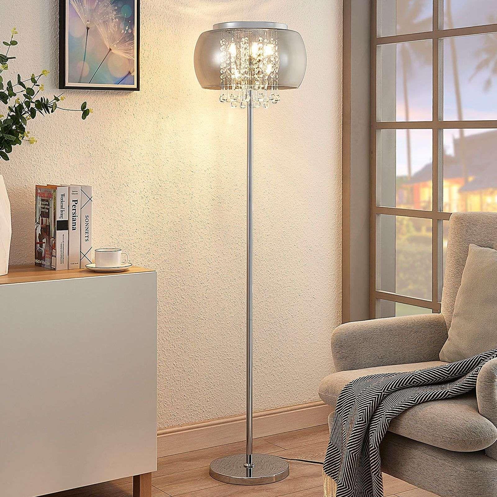 Led Stehleuchte Joani Mit Rauchglasschirm Stehlampe Design