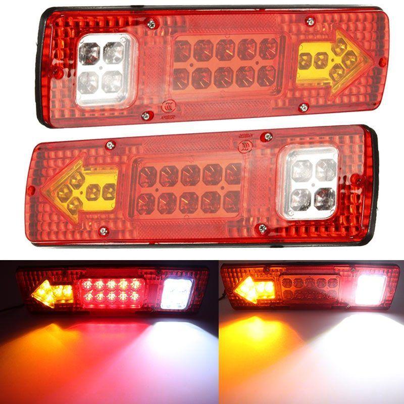 2pcs 24v Red 19 Led Truck Trailer Lorry Brake Stop Turn Rear Tail Light Indicator Trailer Lamp Taillight Car Lights Truck And Trailer Car Lights Truck Lights