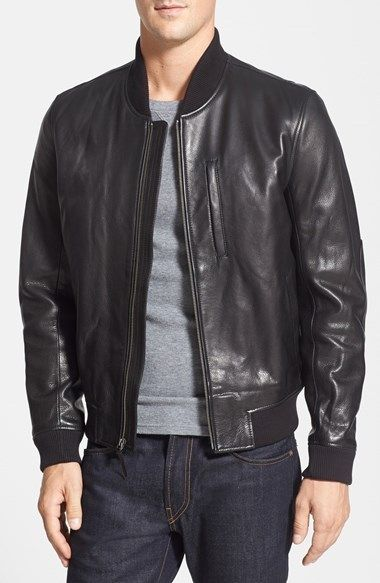 2de0bfd9c66 Black Leather Bomber Jacket by Cole Haan. Buy for  695 from Nordstrom