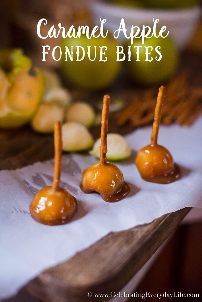 Caramel Apple Fondue Bites, mini caramel apples, easy fall desserts, easy fall entertaining, Celebrating Everyday Life with Jennifer Carroll