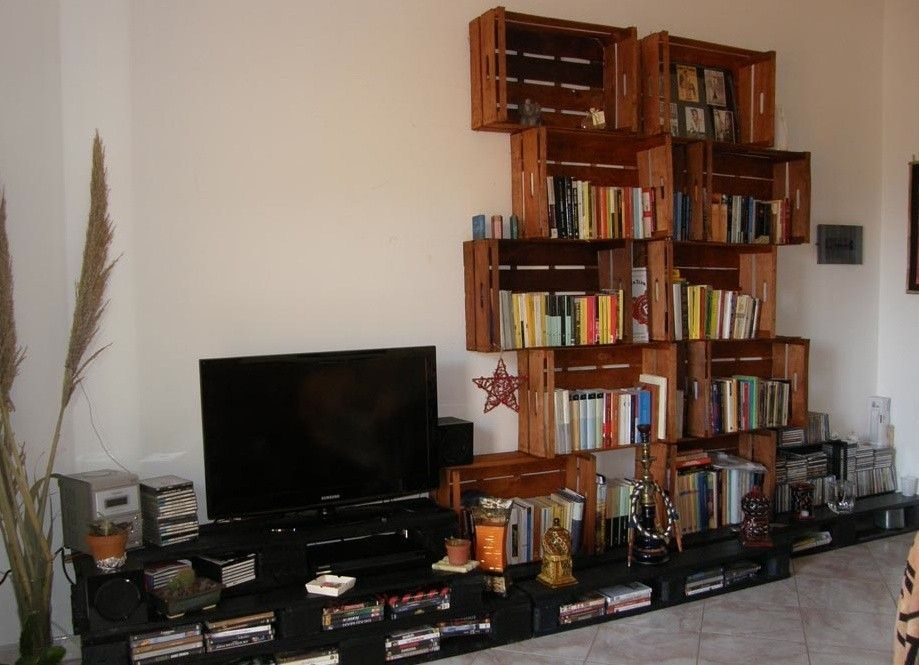 arredare casa con le cassette di legno mobiletto con ruote con cassette frutta furniture