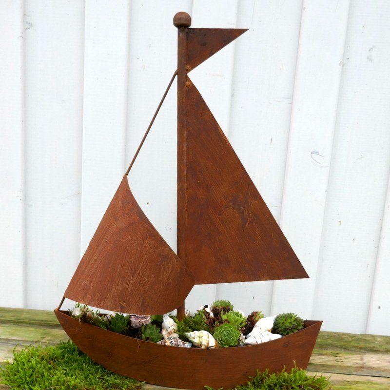 Segelboot Zm Bepflanzen Edelrost Gartendeko 30 95 Garten Deko Rost Deko Garten Edelrost