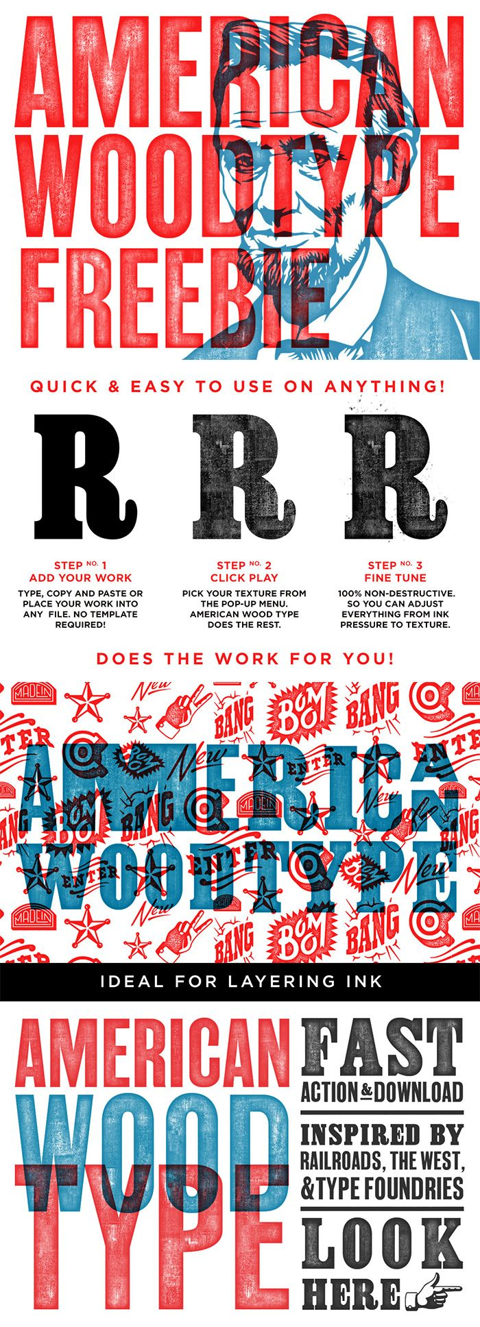 American Wood Type Wood Type Poster Graphic Design Freebies Typography Design