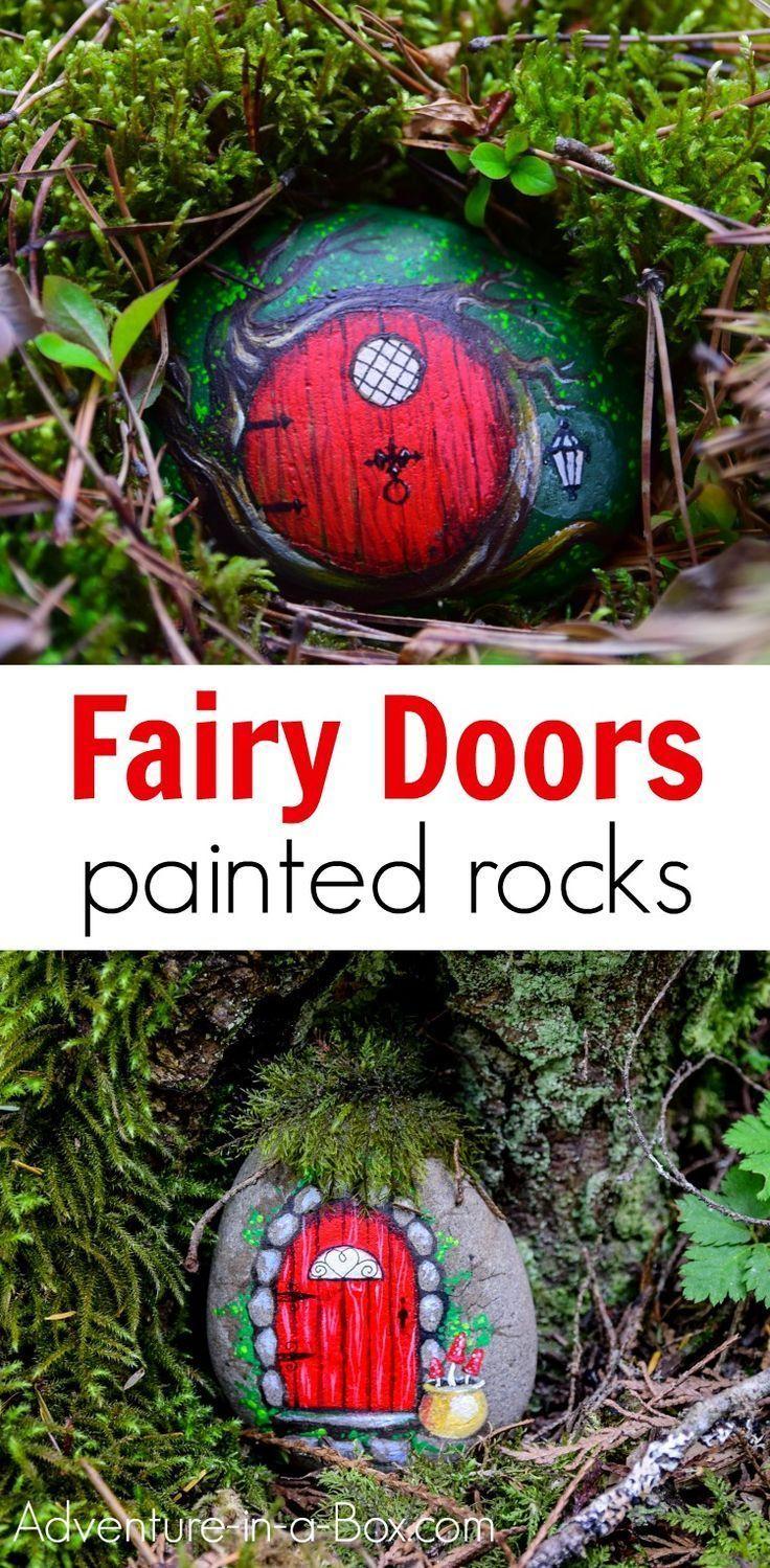 Lerne, wie du aus einem bemalten Stein eine feenhafte Tür machst! Versteck die Feenfelsen #diygarden