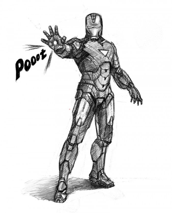 how to draw iron man standing pose