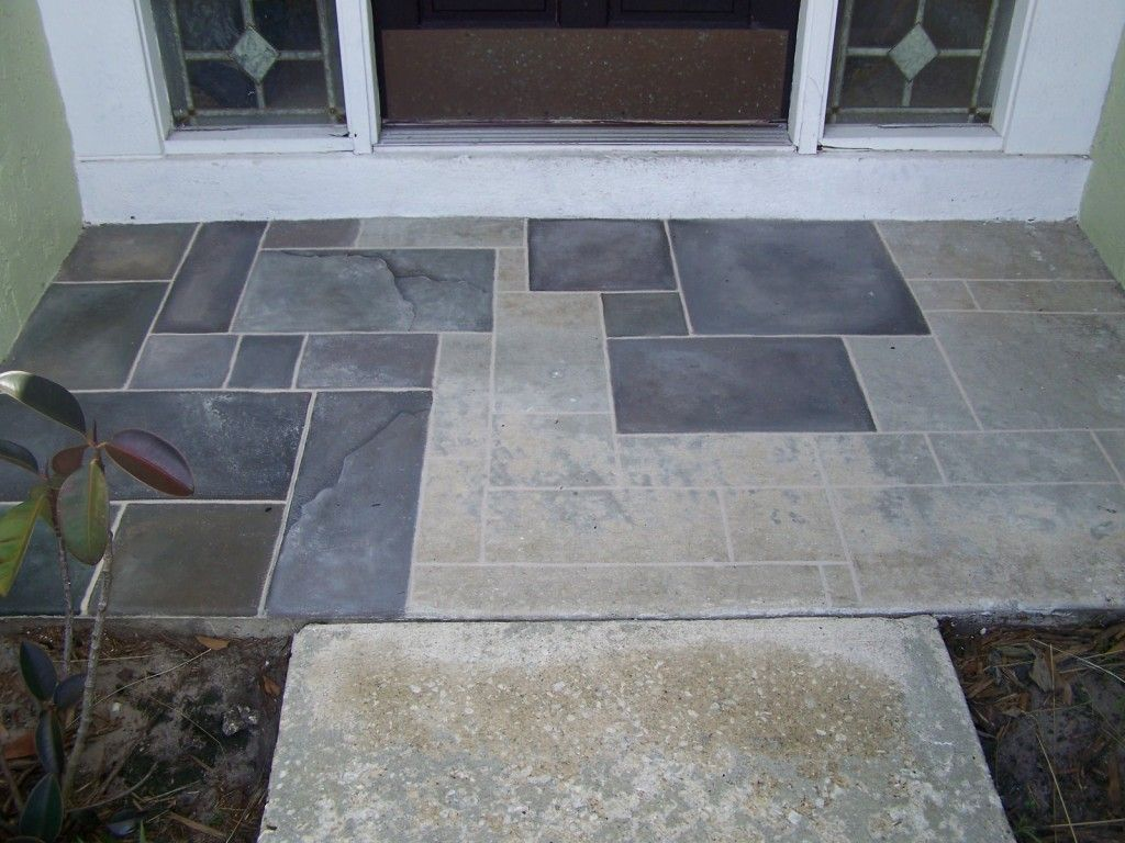 Painting A Faux Slate Walkway On Concrete Garden Pinterest