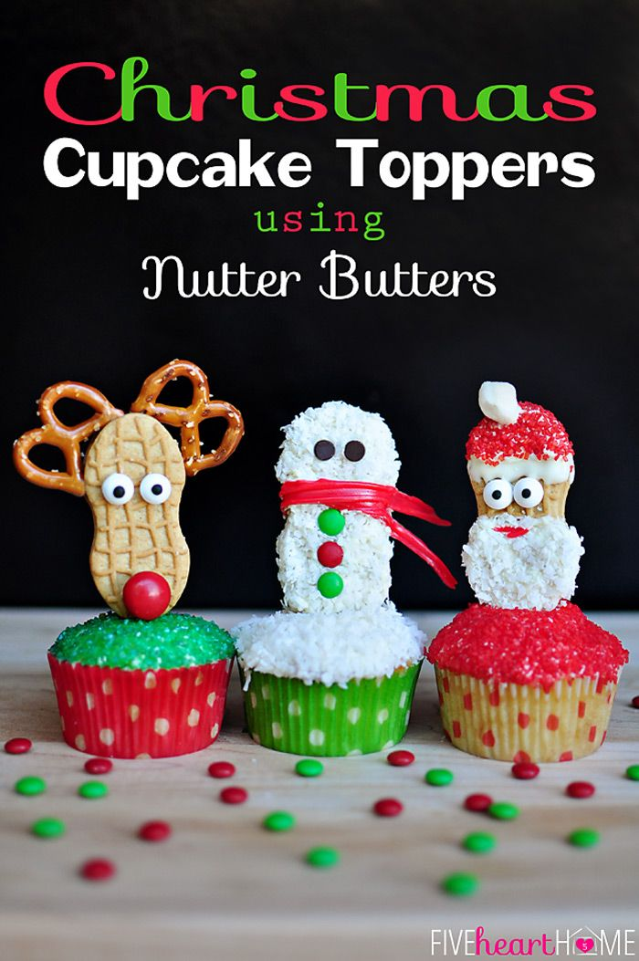 christmas cupcake toppers using nutter butters cakes. Black Bedroom Furniture Sets. Home Design Ideas