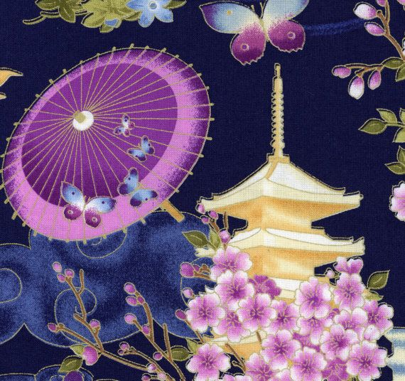 Quilting Fabric with Umbrellas Flower Butterfly Lantern Pagota in Blue Purple Yellow Green Pink, Quilting Fabric by the Half Yard, BTR-6691