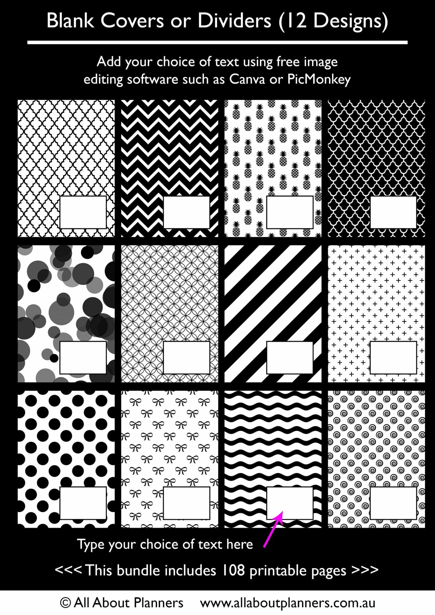 planner dividers template printable photoshop editable blank ...