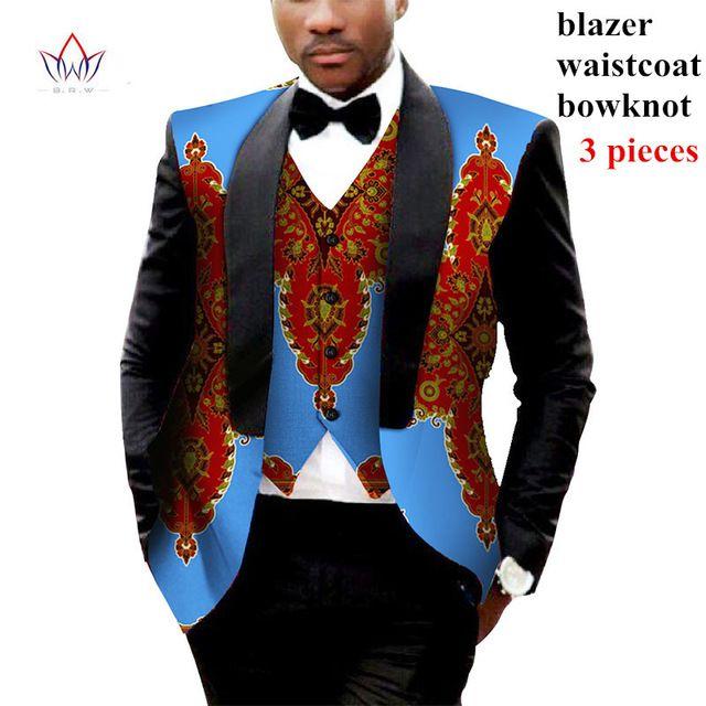 4a44ca6c5d Brand Clothing African Clothes Mens Printed Blazer Men Jacket + Vest ...