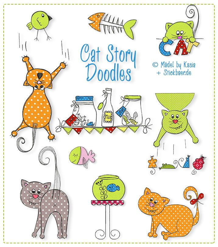 Der Stickbär | Cat Story Doodles | Stickmuster mit Herz | my Light ...