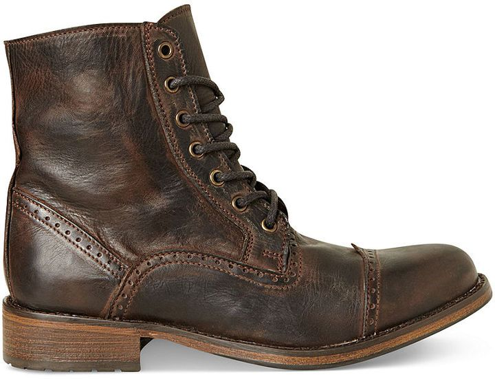 Dark Brown Leather Brogue Boots by Steve Madden. Buy for $139 from Macy's