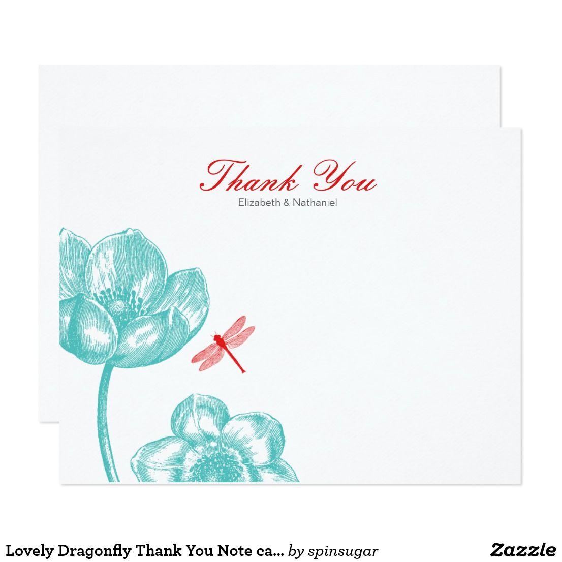Lovely Dragonfly Thank You Note card Blue & Orange | Blue orange ...