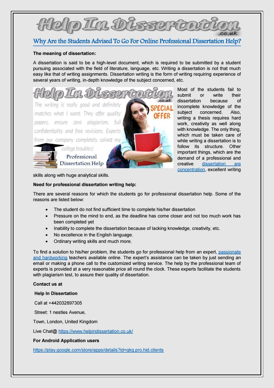 Why Are The Student Advised To Go For Online Professional Dissertation Help Uk