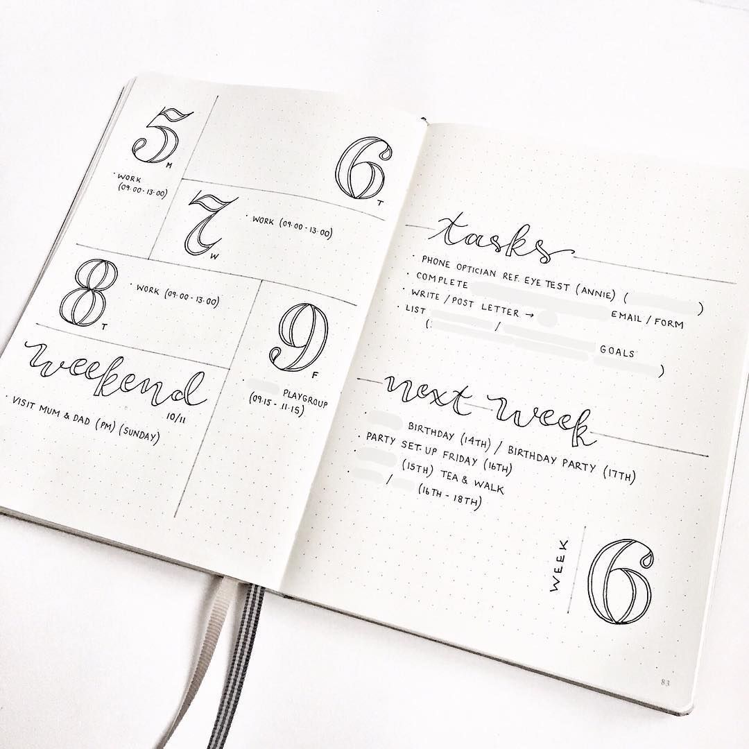 Bullet journal weekly layout, outlined daily headers
