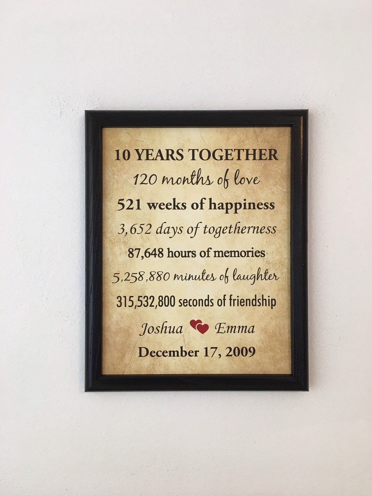 10th Anniversary Gifts 10 Year Anniversary Framed 10th Anniversary Gift 10 Years Together 9 Year Anniversary 7 Year Anniversary Gift Year Anniversary Gifts