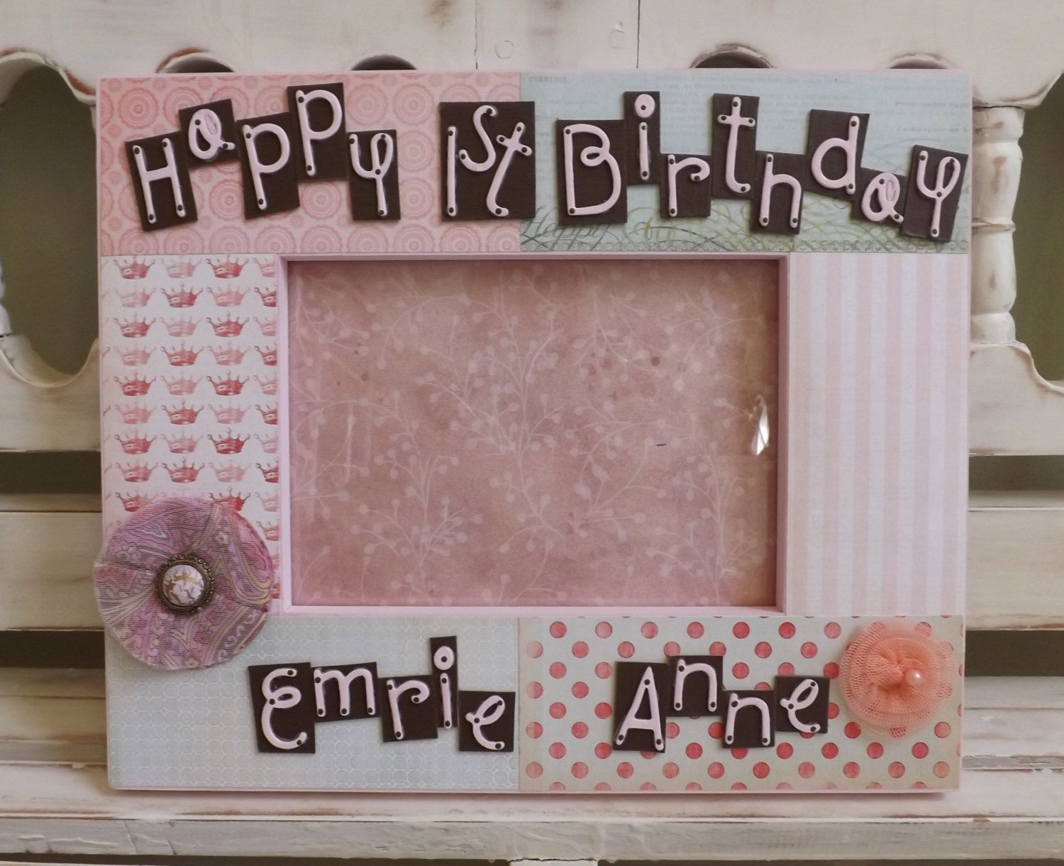 Personalized 5x7 picture frame shabby chic happy birthday first personalized 5x7 picture frame shabby chic happy birthday first birthday pink vintage flowers gift custom name jeuxipadfo Gallery