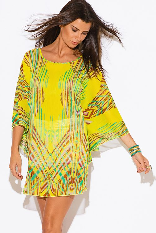 1176ffaccac Cute cheap plus size yellow abstract ethnic print semi sheer chiffon boho tunic  top mini dress