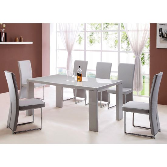 Giovanni High Gloss Grey Dining Table And 4 Light Grey Chairs