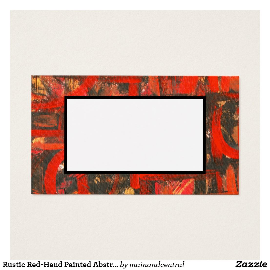 Rustic Red-Hand Painted Abstract Brushstrokes Business Card