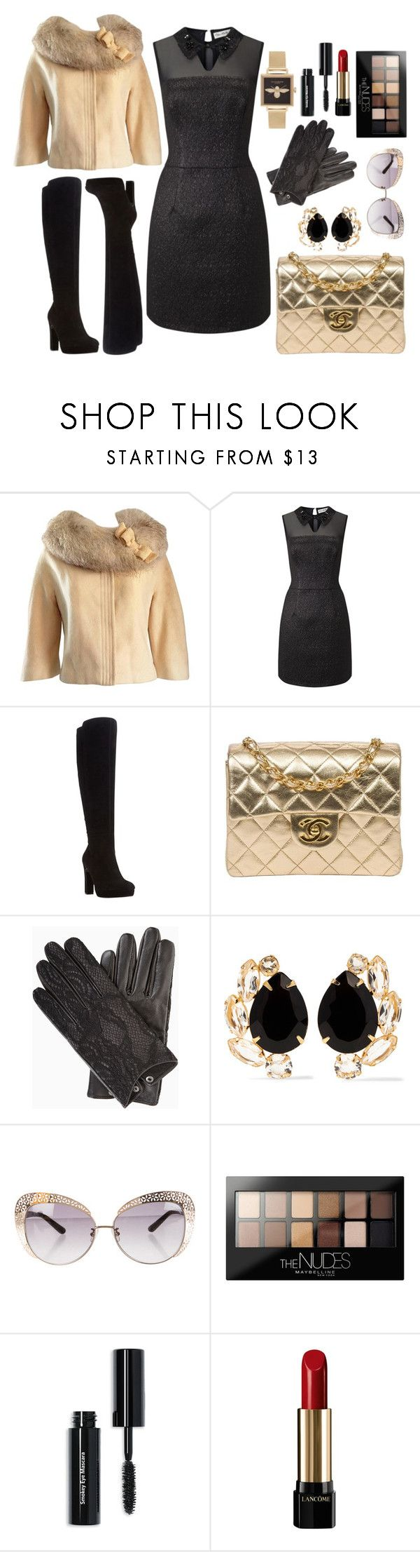 """Evening dress with platform boots"" by dianlanaakbar ❤ liked on Polyvore featuring Lilli Ann, Miss Selfridge, Dune, Chanel, BCBGMAXAZRIA, Bounkit, Maybelline, Bobbi Brown Cosmetics, Lancôme and Olivia Burton"