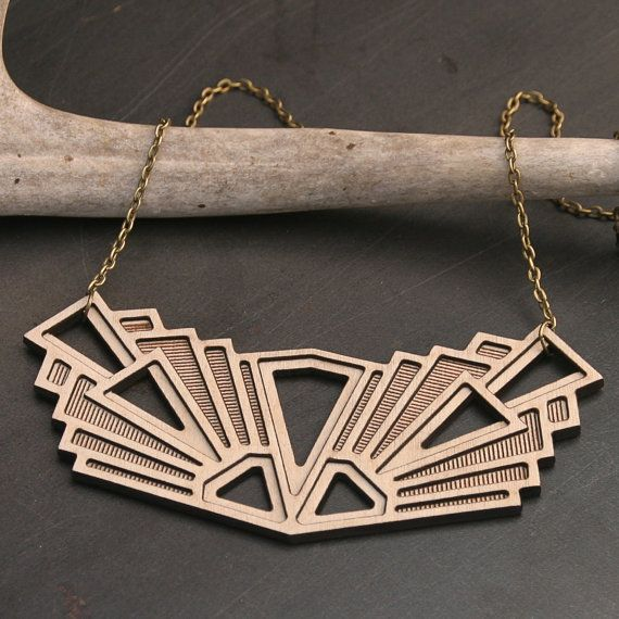 Wooden Geometric Statement Necklace - Bold Cut Out Design with a Tribal Feel on Etsy, $44.00