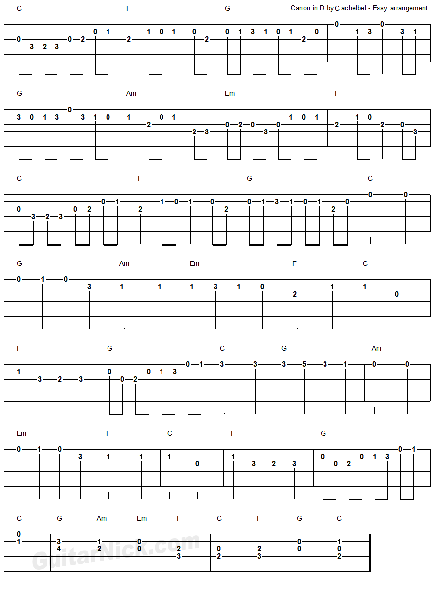 Canon in d by pachelbel easy guitar tablature 2 guitar canon in d by pachelbel easy guitar tablature 2 hexwebz Images