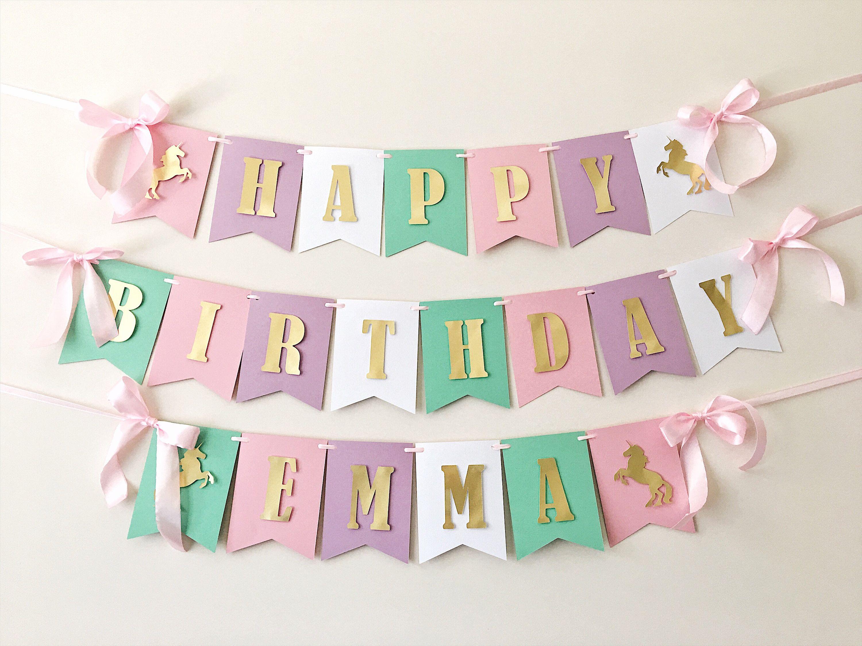Unicorn Birthday Banner Unicorn Girl 1st Birthday Decorations
