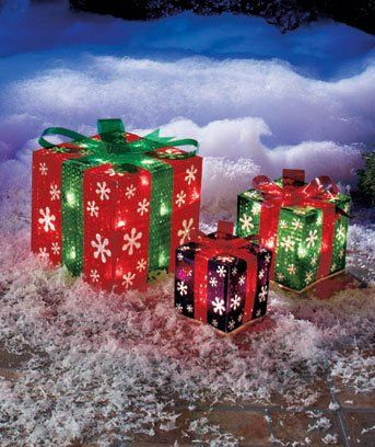 set of 3 lighted gift boxes snowflakes red green purple yard decoration christmas christmas gifts - Lighted Christmas Lawn Decorations