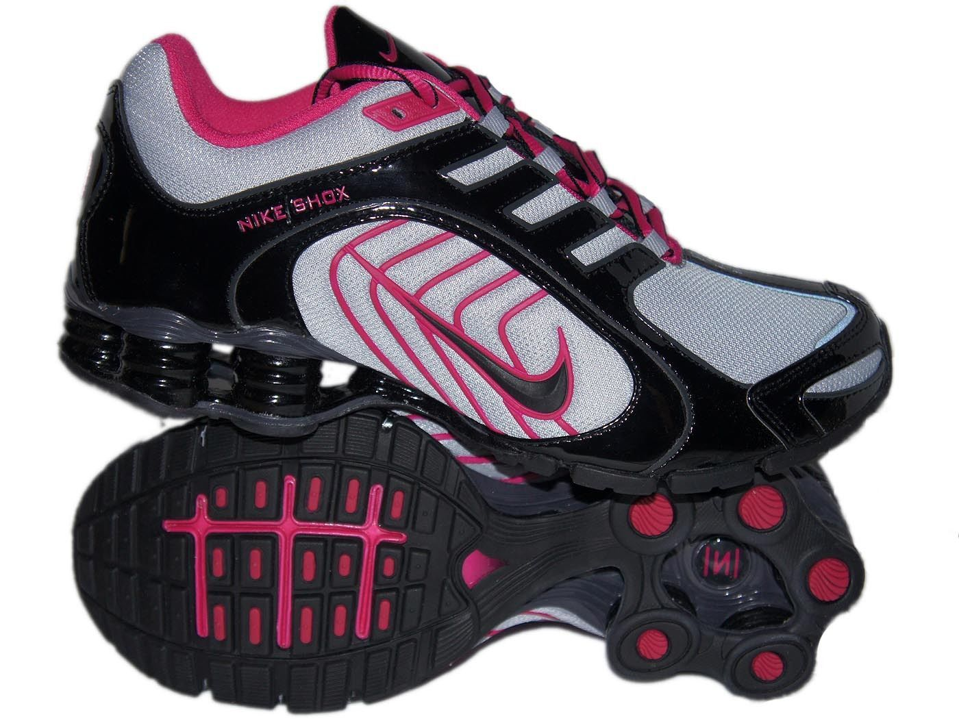 WOMEN'S NIKE SHOX NAVINA SIZE 7.5 - GREY BLACK FIREBERRY RUNNING