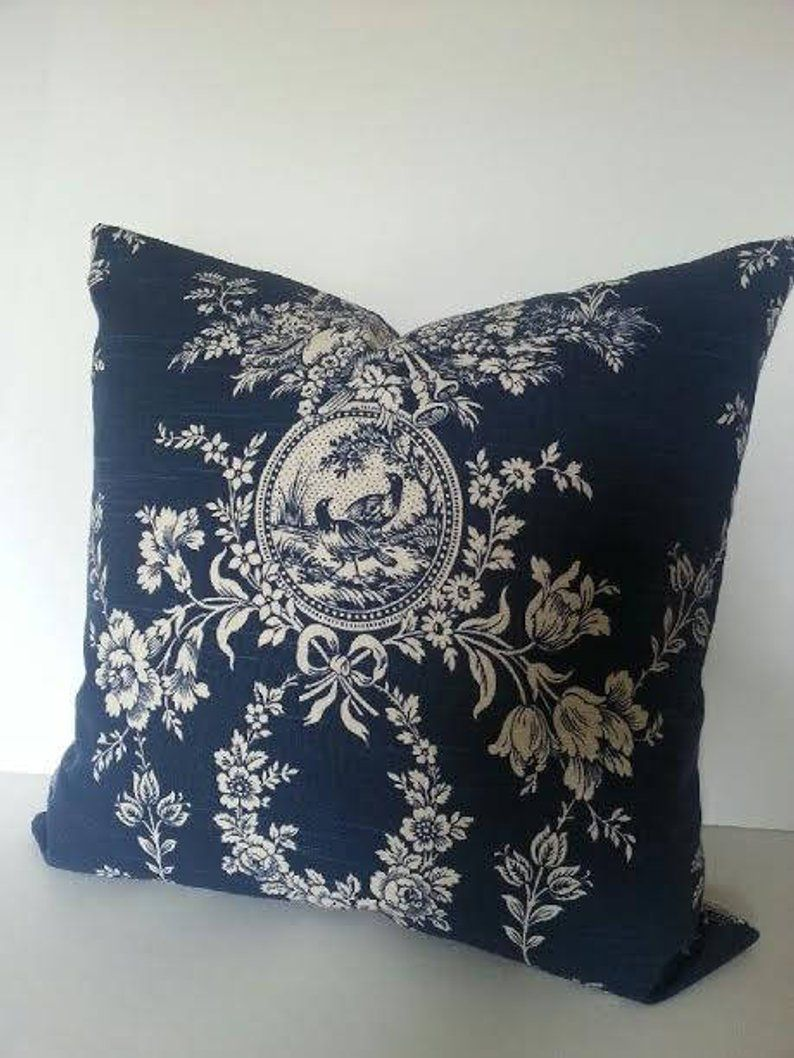 House Toile Pillow Cover