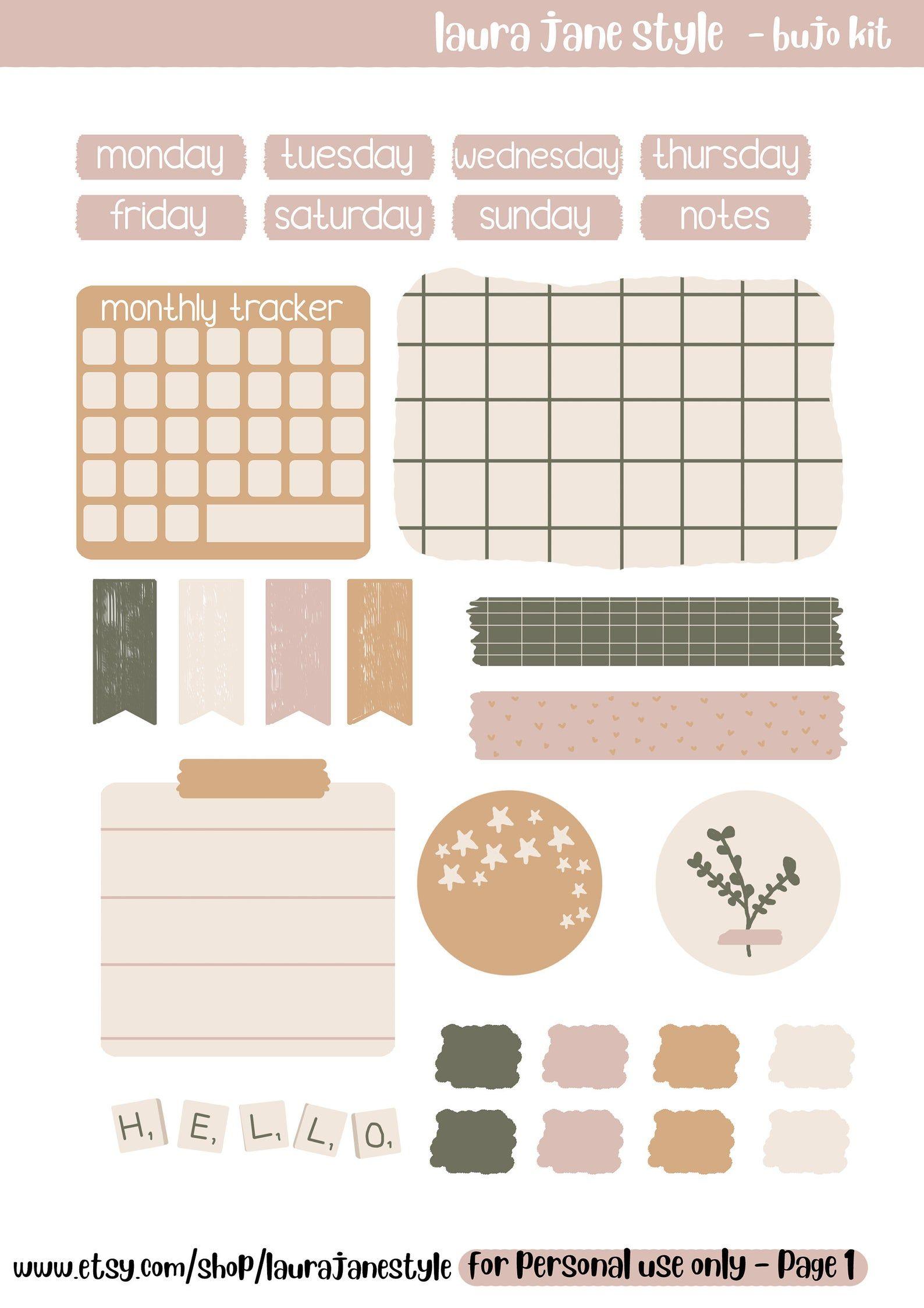 Printable Bullet Journal Kit, Bullet Journal Print