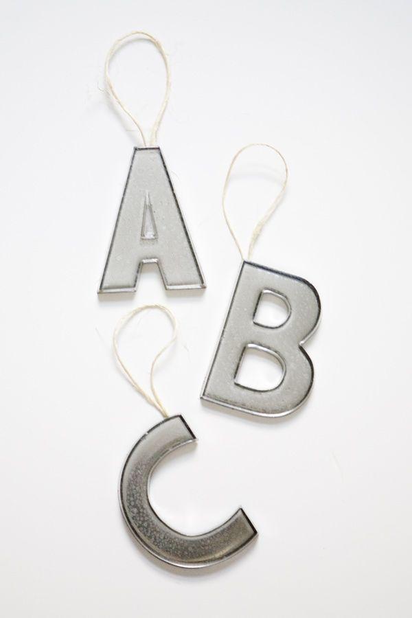 DIY mercury glass ornaments // http://ruffledblog.com/diy-mercury-glass-letter-ornaments/