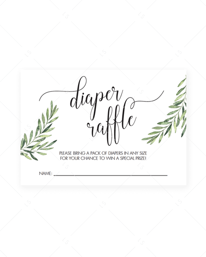 Green Baby Shower Game Editable Diaper Raffle Cards in