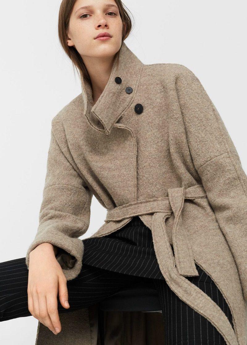 Manteau en laine avec ceinture Femme Mango - Manteau Mango   Mode ... 189b048303d