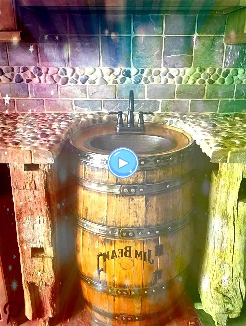 barrel sink hammered copper rustic antique bathroom  bar  man cave vanity wine oak ba Whiskey barrel sink hammered copper rustic antique bathroom  bar  man cave vanity wi...