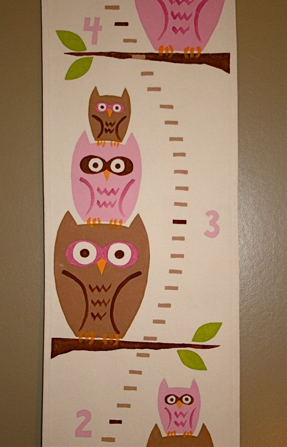 Owl Growth Chart Customizable Handpainted by FortunatelyCrafted, $65.00 on Fortunately Crafted on Etsy!  ** If you found me on Pinterest, get 10% off your order with coupon code PINNERS10 **  http://www.etsy.com/listing/119722877/owl-growth-chart-customizable