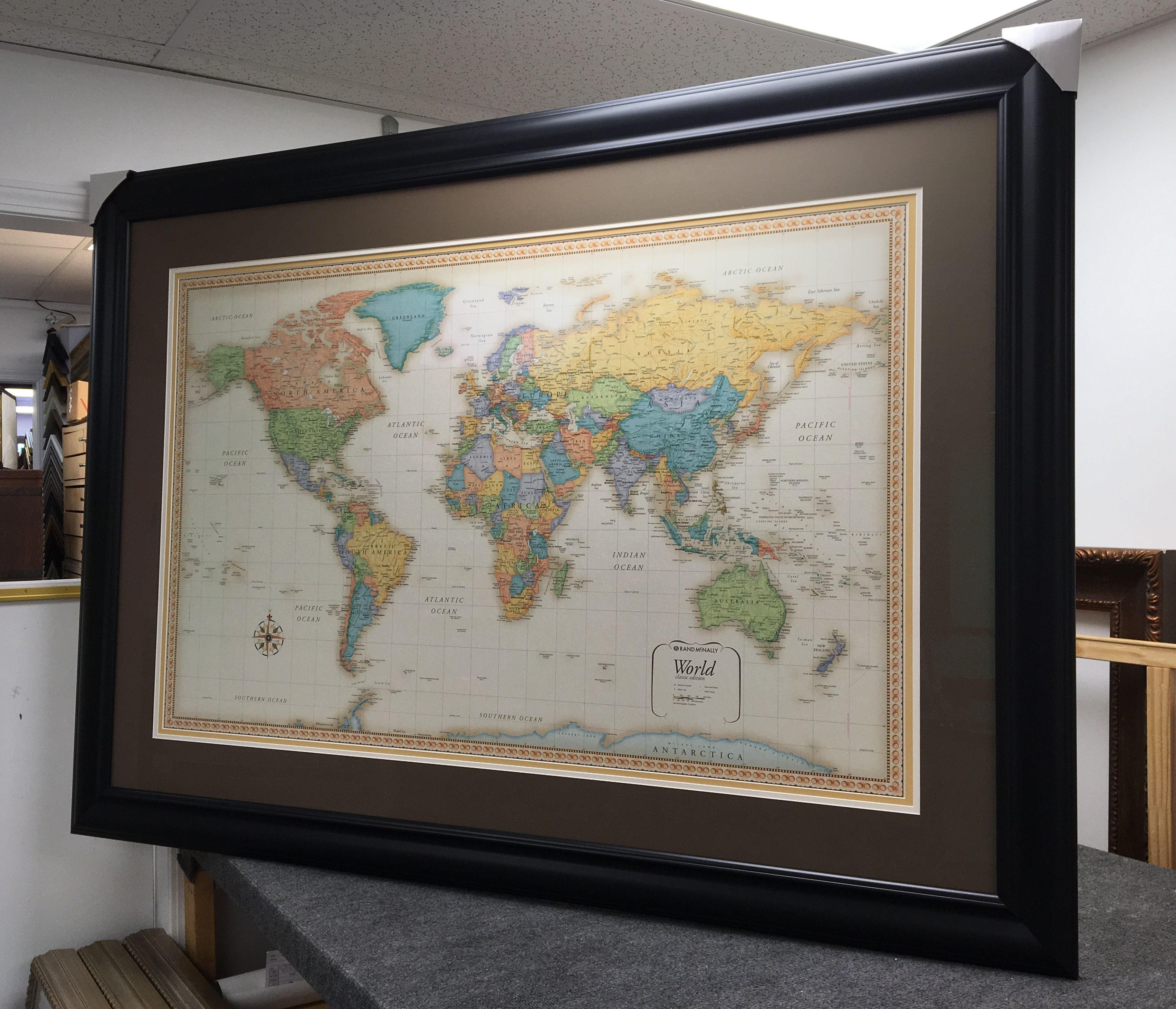 Large Frame Mat Large World Map With Triple Mats And Anti Reflective Glass