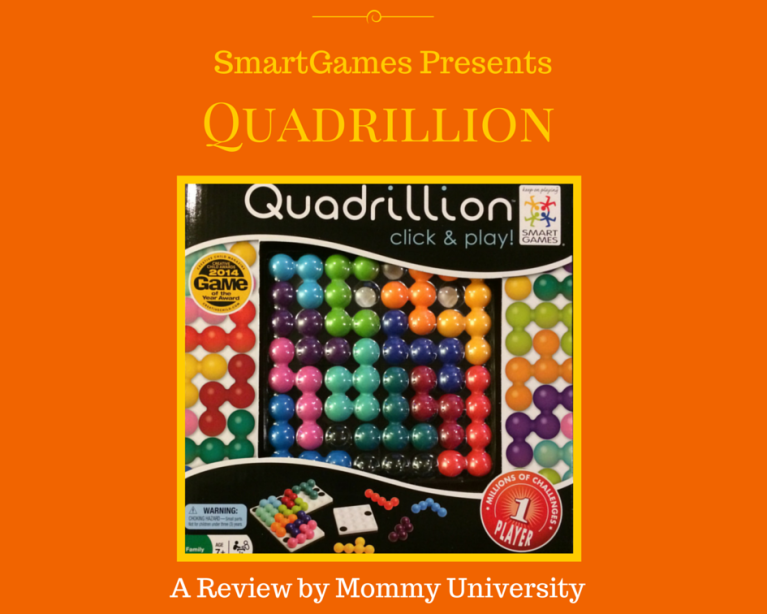 PLAY AND LEARN WITH QUADRILLION FROM SMARTGAMES a review by Mommy University at www.mommyuniversitynj.com #learningtoy #learningthroughplay #mommyuniversity