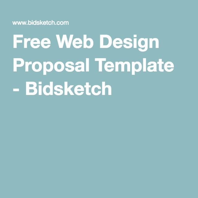 Free Web Design Proposal Template  Bidsketch  Ux  All