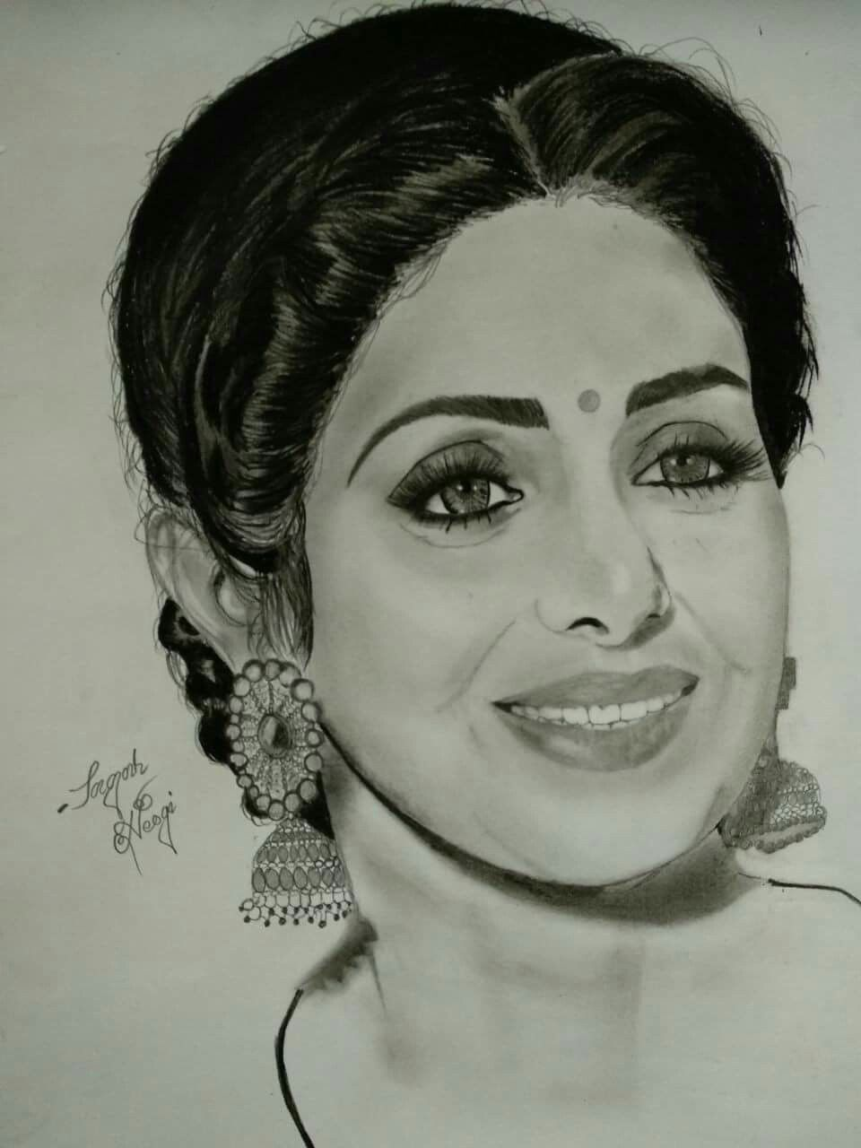 Fan pencil sketch of sridevi ji